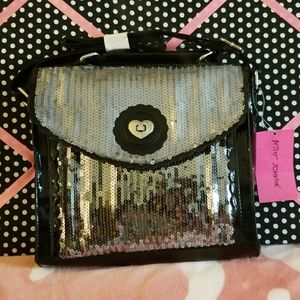 Betsy Johnson Silver Bling Black Handbag NWTS
